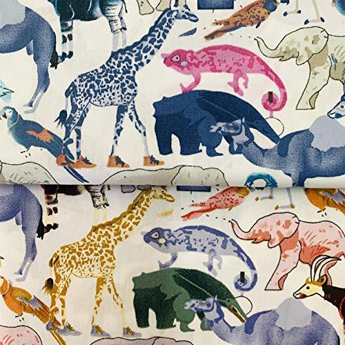 手作り布 タペストリー ファブリックパネル カーテン生地 給食袋生地 手芸用 100%コーミング綿素材 ツイル織 動物柄 (50cm2色セット)