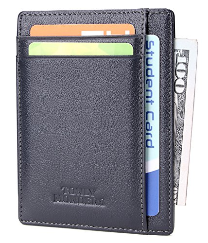 Ultra minimalist and slim wallet, fits front pocket conveniently RFID blocking wallet keeps your valued data in credit cards and debit cards from being reading, protect your private information security High quality wallet crafted with genuine leathe...
