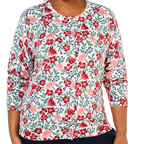 Karen Scott Plus Size Floral-Print Cardigan (White, 1X)