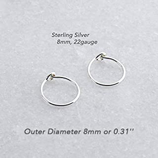 Small Sterling Silver Hoop Earrings for Women Fashion Earing Rings 8mm or 0.31 Inch Outer Diameter and Thin 22 Gauge Cartilage Tragus