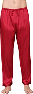 YAOMEI Men's Pyjamas Bottoms Satin, Silky Long Drawstring Lounge Shorts Pants Nightwear Underwear Casual Trousers Elastic ...