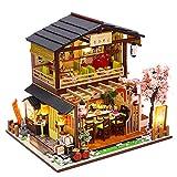 September-Europe – DIY 1:24 estilo japonés montado a mano, tienda de sushi en miniatura de madera...