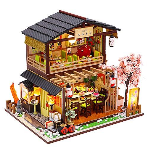 Settembre-Europe - Kit fai da te 1:24 assemblato a mano in stile giapponese per sushi shop in miniatura, in legno creativo per casa delle bambole, ass