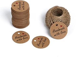 Handmade Tags,Gift Wrap Tags,Brown Handmade with Love Kraft Paper Tags,100 Pcs 5cm Round Craft Tags with 100 Feet Natural Jute Twine
