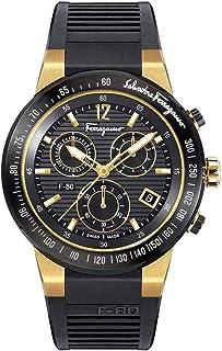 SALVATORE FERRAGAMO - F-80 Chrono Reloj de cuarzo con correa de goma, negro, 26 (Modelo: SFDL00318)