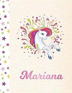 Mariana: Unicorn Personalized Custom K-2 Primary Handwriting Pink Blank Practice Paper for Girls, 8.5 x 11, Mid-Line Dashe...