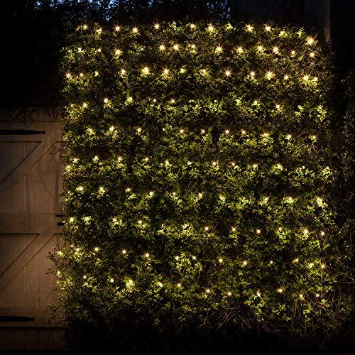 Lights4fun - Red de Luces 2mx2m con 140 LED Blanco Cálido en Cable Verde Para Interiores y Exteriores
