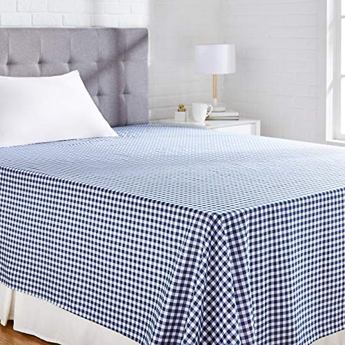 Amazon Basics Hoja de Microfibra, Gingham Plaid, 230 x 260 + 10 cm