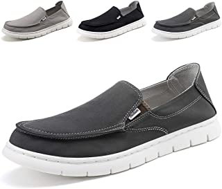 SONLLEIVOO Mens Slip On Shoes Penny Loafers Moccasin Footwear Suede Driving Leather Moccasins Flat Black Boat Shoe