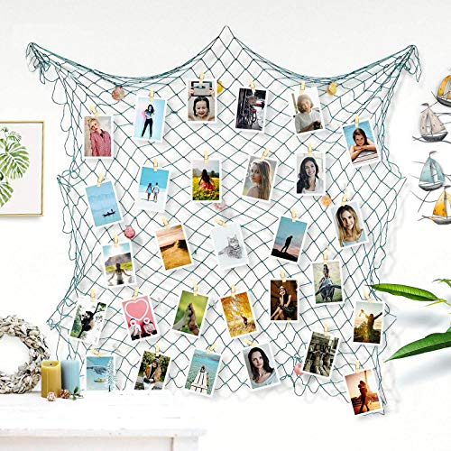 Photo Hanging Display Frames 79x40 Inch,ZUEXT Fishing Net Picture Frames Holder Wall Decor w/40 Clips & Anchors, Artworks Photos Organizer, Nautical Sea blue Theme Fish Net for Home Party Decorations