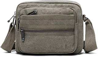 Sports Outdoor Canvas Messenger Shoulder Bag, Men and Ms Casual Wear Resistant Crossbody Sling Bag for Work, School, Traveling and Daily Use (Size: 25 * 6 * 19CM) (Color : Green)