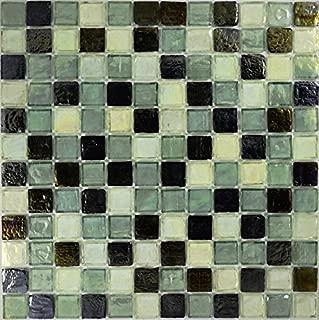 Celedon Pewter Blend Glass Tile Mosaic, Textured Iridescent Glass Tile 1