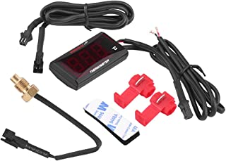 Motorrads Wassertemperaturzähler, Fydun Motorrad Digital Thermometer Wassertemperaturanzeige Meter für Racing Roller(Rote Hintergrundbeleuchtung)
