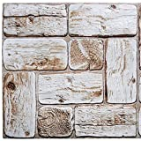 Dundee Deco PG7019 White Faux Logs, 3.2 ft x 1.6 ft, PVC 3D Wall Panel, Interior Design Wall Paneling Decor, 5 sq. ft.
