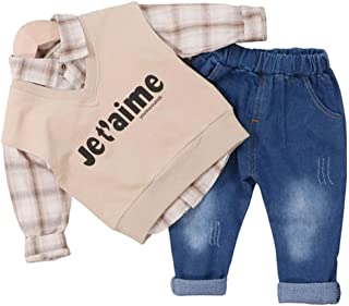 Chumhey Little Boys Striped Bow Tie Leaves Printed Stand Collar T-Shirt Elastic Jeans Pants Set