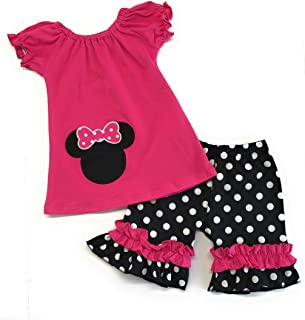 Cute Kids Clothing Toddler Girl's Hot Pink Black Polka Dot Ruffled Shorts Mouse Outfit Boutique Clothing Set