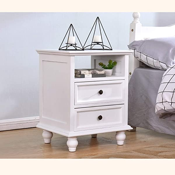 HappyL Nightstand Drawer Shelf Storage Bedside Furniture Accent End Table Chest For Home Bedroom Office College Dorm Modern Bedside Table Bedside Table Color White