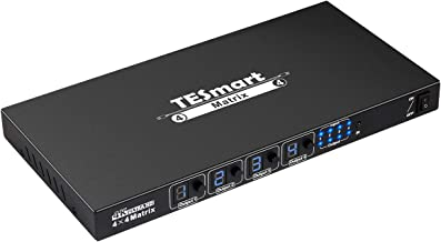 TESmart Ultra HD 4K HDMI 4X4 Matrix Switcher 4 Ports Inputs and 4 Port Outputs with RS232 IR Remote Control Supports 4Kx2K@30HZ, HDCP, 3D & Deep Color, HDMI 1.4 Compliant