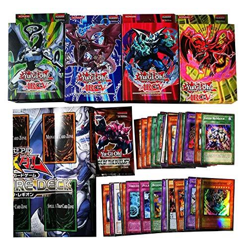 Falliback 49 Stück Anime Karte für Yugioh mit Bataillenpapier, 49 Spielkarten (40 Karten + 1 Kartenbox mit Kunststoffverpackung (8 Common Karten + 1 Flashkarte) + reichly-Papier