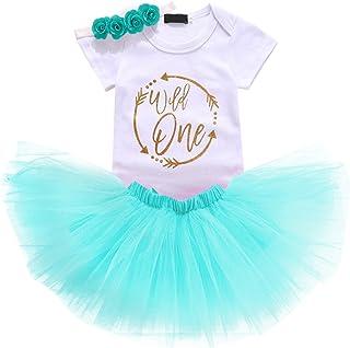 Baby Girls 1st Birthday Cake Smash 3pcs Outfits Set Cotton Romper Bodysuit+Tutu Dress+Flower Headband Princess Skirt Cloth...