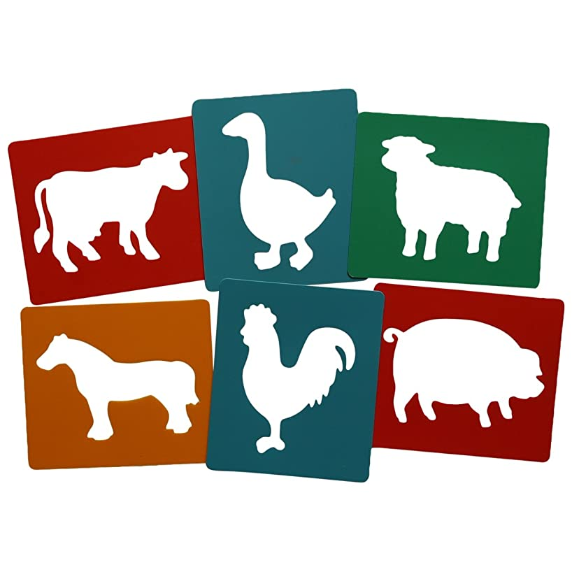 Art Straws HP12044 6 Individual Stencils, Farm Animals