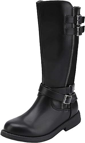 DREAM PAIRS Girls Knee High Fashion Riding Boots