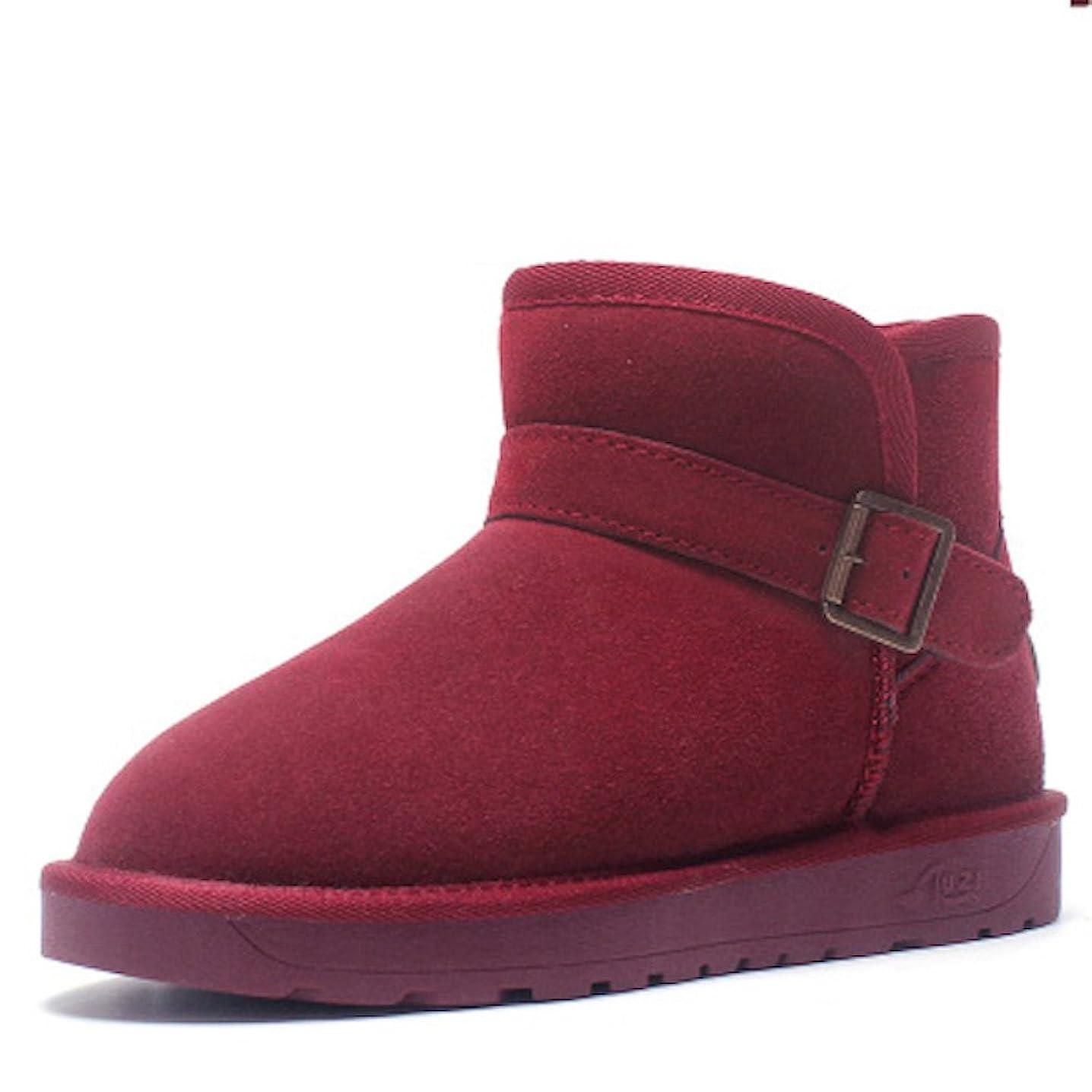 黒ベルト年ブーツ ショートブーツ レディース 革 ウォーキングシューズ 革靴 レザー カジュアル 軽量 (23, ブルー)