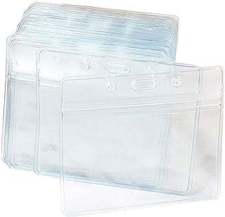 100pcs Porte-cartes d'identité avec étiquette en plastique transparent