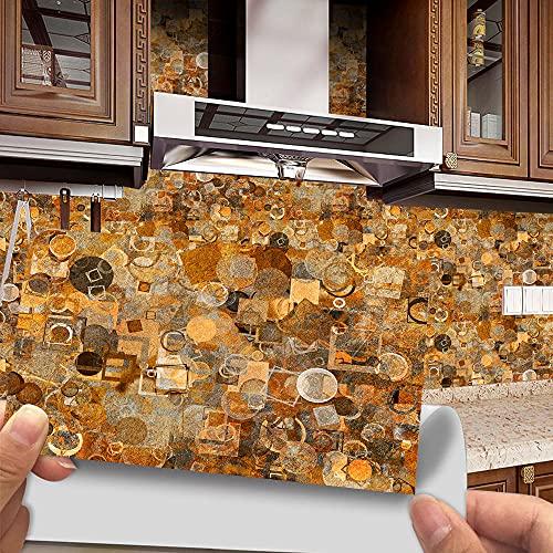 Azulejos Adhesivos Círculo Negro Naranja Vinilos Cocina AzulejosAntisalpicadurasRollos Adhesivos para Azulejos de Cocina Vinilos de Pared Decorativos VinilosBaño Vinilos Decorativos 48 piezas