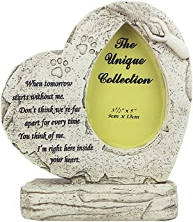 WNGGADH Cadre photo en forme de cœur avec pierre tombale pour animal domestique 20,3 cm
