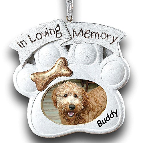 Fun Express Personalized in Loving Memory Dog Paw with Gold Dog Bone Detail Pet Memorial Hanging Christmas Ornament and Photo Frame with Custom Pet Name