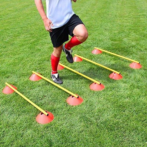 Superspieler24 Mini-Hürden 5er Set, orangene Markiermulden und gelbe Stangen 100 cm, für Fußballtraining
