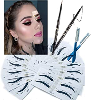 Eyebrow Makeup Set With Eyebrow Pencils And 32 Pairs Autumn Wave Style Stencils – 3-In-1 Pencil 3D Auto Eyebrow Pencil With Eyebrow Brush And Powder - 2 Pairs Of Razors For Grooming And Styling