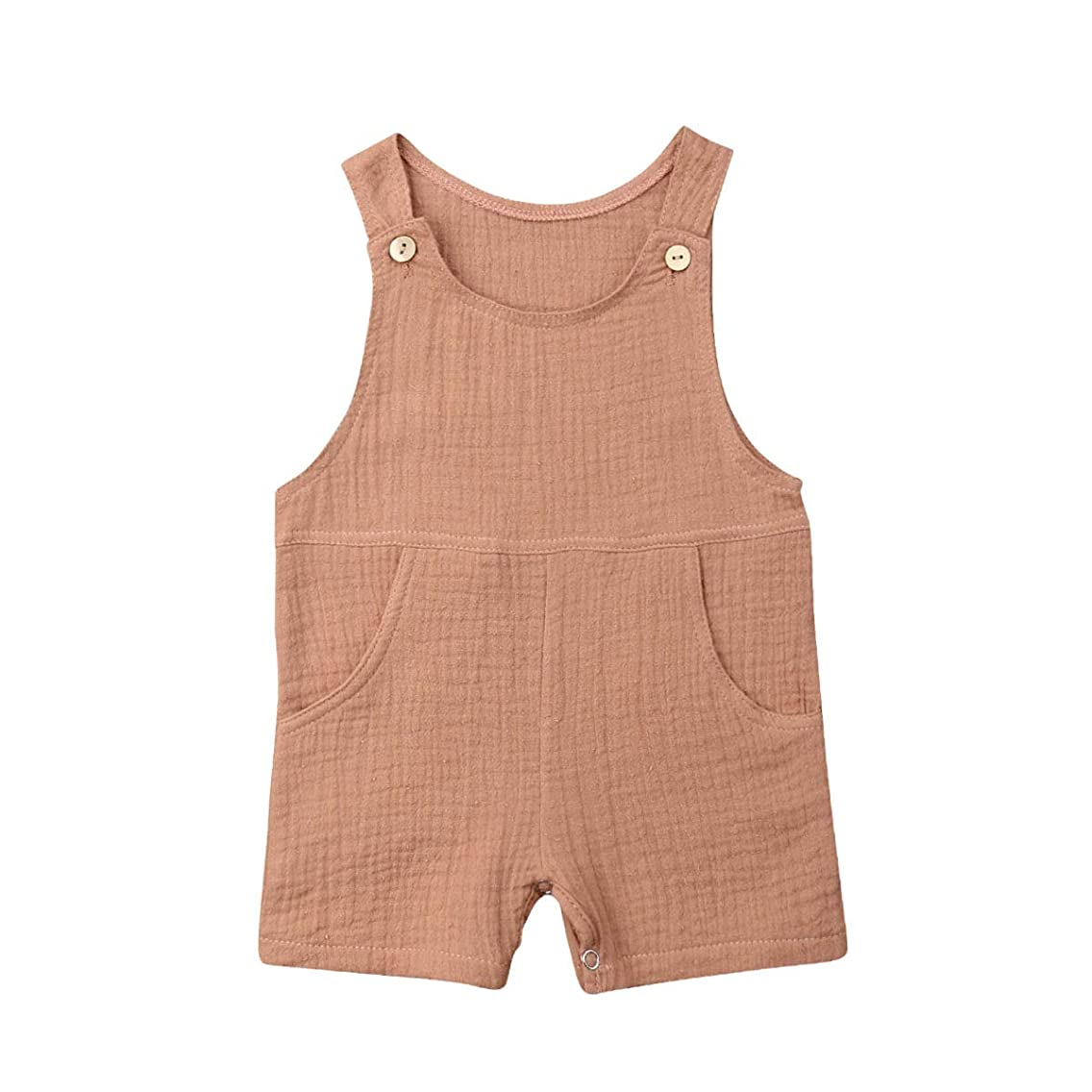 xueliangdedianpu Baby Boys Summer Vest Pocket Solid Color Seersucker Romper Overalls One Piece Outfits for Infant Toddler