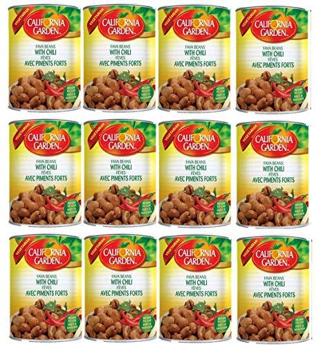 California Garden Premium Kosher Fava Beans with Chili 12 Cans 16oz/450g each حدائق كاليفورنيا فول مدمس بالفلفل الحار