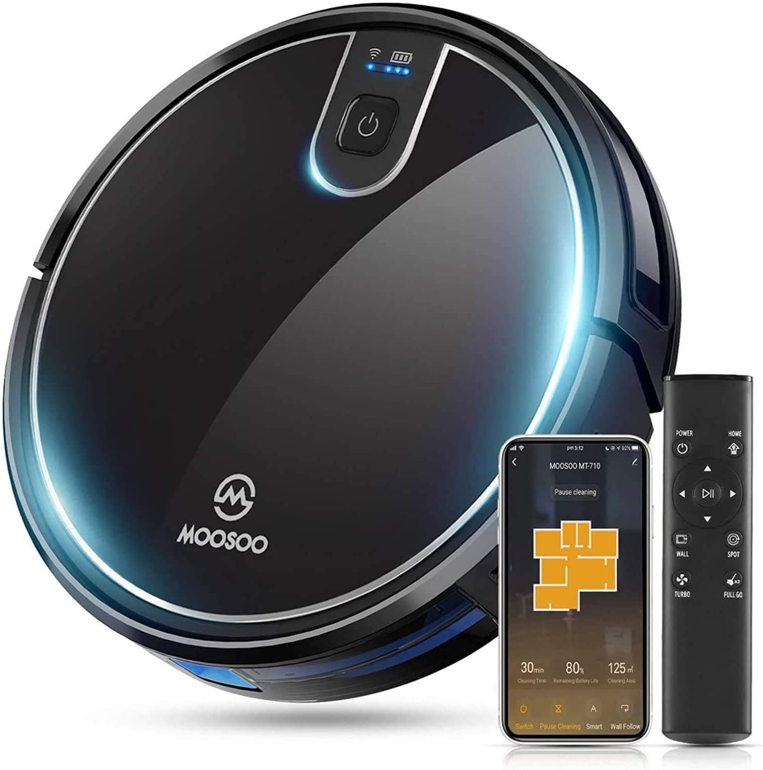 Diff/érents Modes de Nettoyage MT710 WiFi//Alexa//APP//T/él/écommande MOOSOO Aspirateur Robot,/2000Pa 120Mins Robots Aspirateurs Chargement Automatique