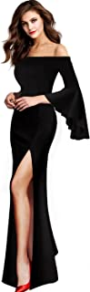 Womens Off Shoulder Bell Sleeve High Slit Formal Evening Party Maxi Dress