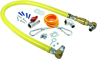 T&S Brass HG-4D-36SK Gas Hose with Quick Disconnect, 3/4-Inch Npt, 36-Inch Long, Installation Kit and Swivelink Fittings
