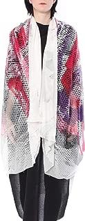 ミハイル ギニス アオヤマ MICHAIL GKINIS AOYAMA 着る ART ストール [登録意匠] 日本製 ハイテク ニット MADE IN TOKYO ギリシャ 大判 SILK HANDPAINT シルク ハンドペイント 1点モノ レッド&パープル&ホワイト red purple white