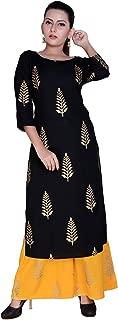 Fashion Farmer's Women's Rayon Straight Kurta with Solid Palazzo Set.