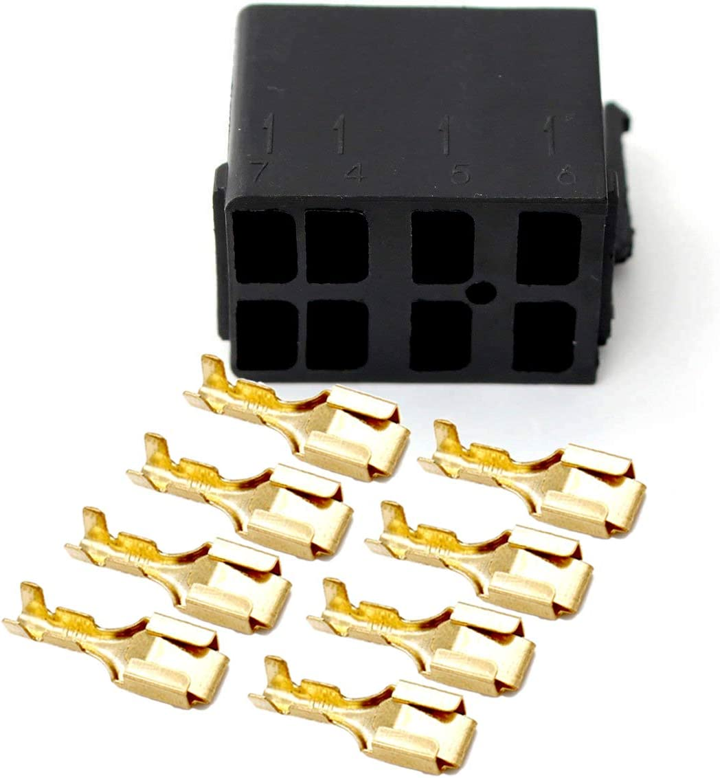 GIETOP GI1407 Lot//Sets 6.3mm 14-16AWG Female Gold Spade Terminal Connector 4 Sets Rocker Switch Plug Connect Box Socket ARB Carling