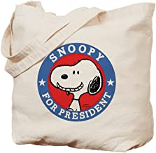 CafePress Snoopy For President Peanuts Natural Canvas Tote Bag, Reusable Shopping Bag