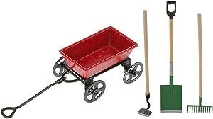 1/12 Dollhouse Miniature Garden Tools Set Mini Small Cart Dollhouse Accessory