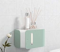 ABS plastic toiletrolhouder, wandmontage zonder boren gezichtstissue opbergdoos deksel, creatieve badkamerrolrolhouder-groen