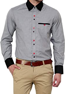 Parth Fashion Men's Slim Fit Cotton Casual Fancy Grey Shirt for Men Full Sleeves