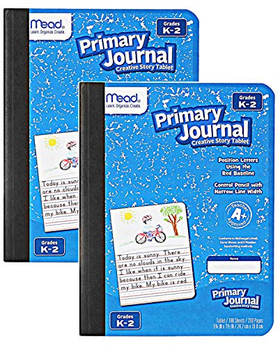 Mead Primary Journal Kindergarten Writing Tablet 2 Pack of BLUE Primary Composition Notebook for Grades K- 2, 100 Sheets (200 Pages) Creative Story Notebooks for Kids, 9 3/4 in by 7 1/2 in.