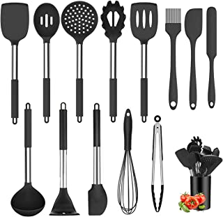 Juego de utensilios de cocina de silicona Negro-13
