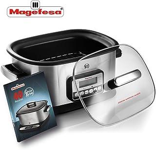 MAGEFESA Olla eléctrica de cocción Tradicional GUISOTHERM 6L 1200 W, Incluye Libro de Cocina con Recetas, Recipiente extraíble Anti adherente, Apto para lavavajillas, Tapa de Vidrio (Aluminio)