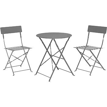 Bakon-Sitzgruppe Balkontisch Bistrotisch 2x Bistrostuhl Tisch Stuhl Klappstuhl
