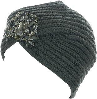 Women's Knit Jewel Accent Ribbed Beanie Turban